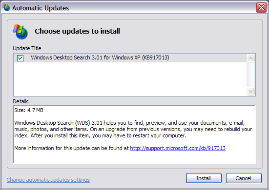 Windows Desktop Search 3.01 Update Screen