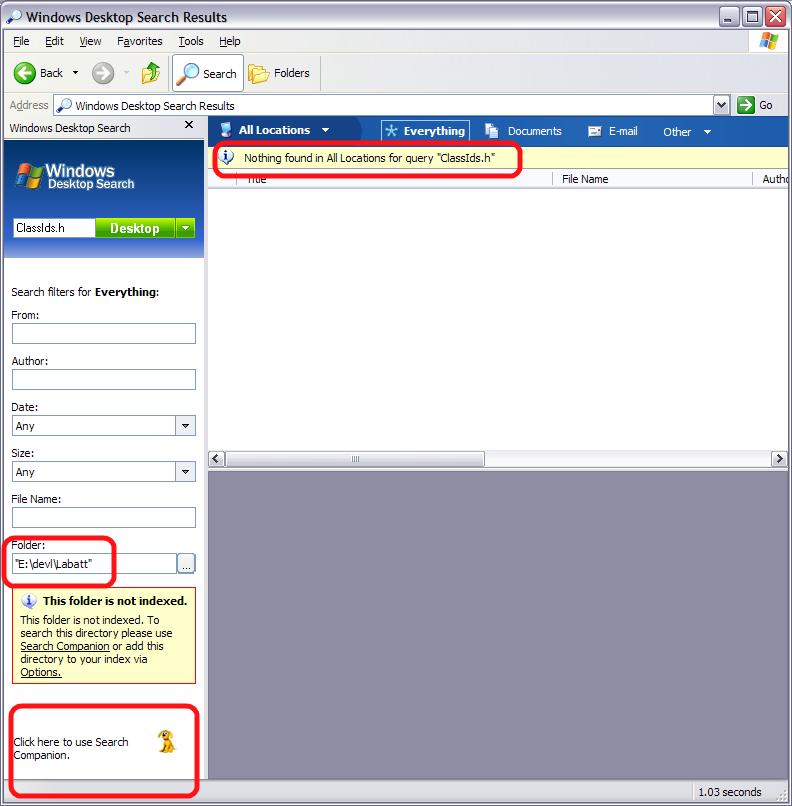 Microsoft Windows Desktop Search Doesn't Work