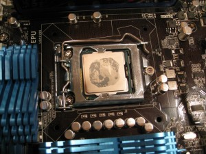 Intel Sandy Bridge 2600k Stock Thermal Paste Pattern