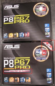 Old and New Asus P8P67 Pro Motherboard Boxes